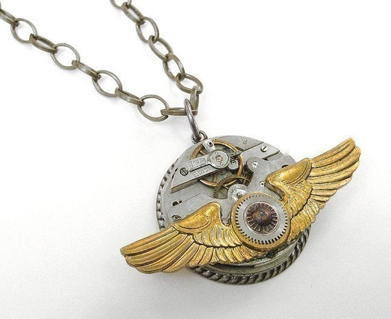 Steampunk Jewelry Necklace Vintage Pocket Watch Brass Aviator PILOT WiNGS Gears Steam Punk Mens Womens - Steampunk Jewelry by edmdesigns