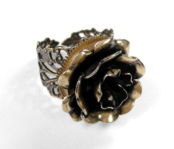 Steampunk Jewelry Ring Vintage Watch Part Golden ROSE Ring Featured in WOLFRAM Fashion Magazine GORGEOUS - Steampunk Jeweley by edmdesigns