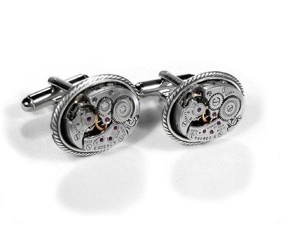 Mens Cufflinks ELGIN Steampunk Jewelry Oval Cuff Links Silver Braid WEDDING Anniversary,  Groom, Fiancee, Fathers Day- Jewelry by edmdesigns