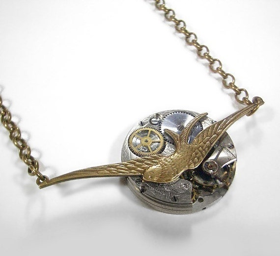 Steampunk Jewelry Necklace Vintage ETCHED Pocket Watch Bird Swallow Pendant Wedding, Trending Jewelry, Mothers Day - Jewelry by edmdesigns