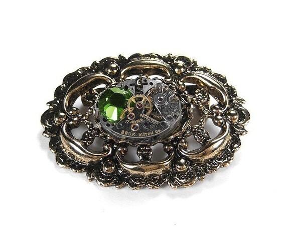 Steampunk Jewelry Brooch Pin Vintage Golden Lapel Pin ORNATE Filigree Jeweled Watch OLIVE Swarovski Womens Mothers - Jewelry by edmdesigns