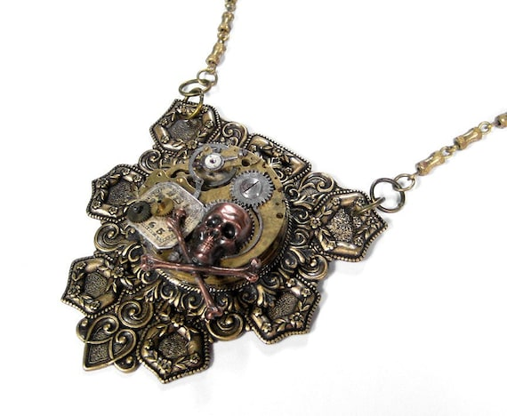 Steampunk Jewelry Necklace Pocket Watch SKULL Bones Dial Gear Mens Womens Steam Punk Rocker Burning Man - Steampunk Jewelry by edmdesigns