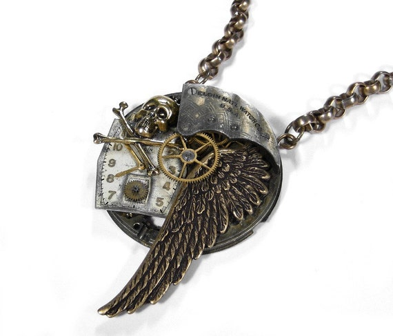 Steampunk Jewelry Necklace Grungy Pocket Watch Necklace WING SKULL Bones Dial Steam Punk Mens Womens Gift - Steampunk Jewelry by edmdesigns