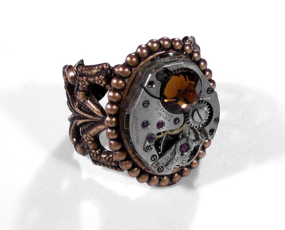 Steampunk Jewelry Ring Vintage Jewel Watch UNISEX Adjustable Topaz Crystal Wedding, Anniversary Holiday Gift For Her - Jewelry by edmdesigns