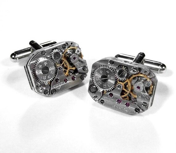 Steampunk Cufflinks Vintage RUSSIAN Pinstripe Jeweled Watch Movement Mens Anniversary Wedding Fathers Day - Steampunk Jewelry by edmdesigns