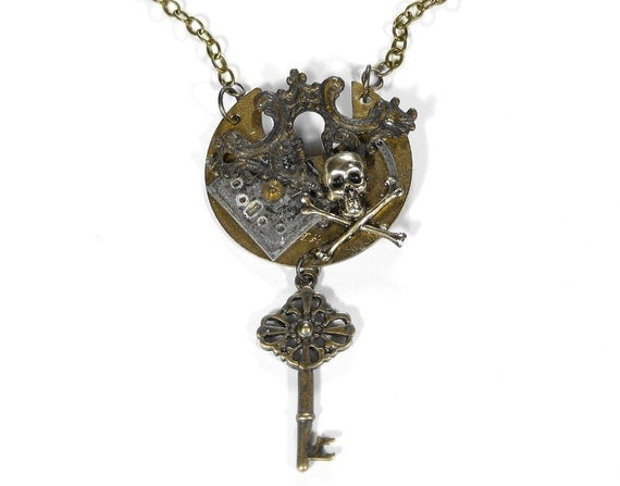 Steampunk Jewelry Necklace Vintage Watch Parts Mens Womens Statement SKULL BONES Antique Escutcheon Skeleton Key - Steampunk by edmdesigns