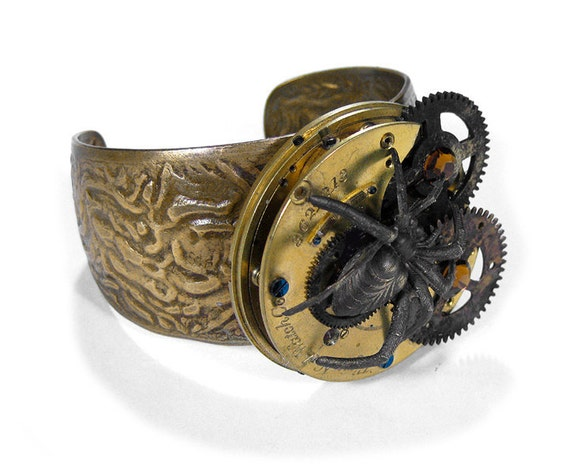 Steampunk Jewelry Cuff Vintage Pocket Watch SPIDER GEARS Topaz Crystals Brass Industrial BOLD Steam Punk Apocalyptic - Jewelry by edmdesigns