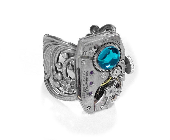 Steampunk Jewelry Ring Vintage Art Deco Watch Ring Stem Turquoise Swarovski Crystal Mens Womens Steam Punk Ring WOW - Jewelry by edmdesigns