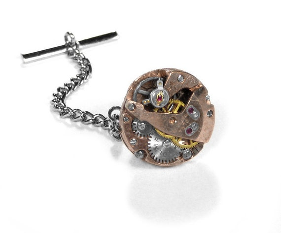Steampunk Jewelry Mens Tie Tack ROSE GOLD Ruby Jeweled Watch Mechanism Tie Pin Wedding Groom Father's Day - Steampunk Jewelry by edmdesigns