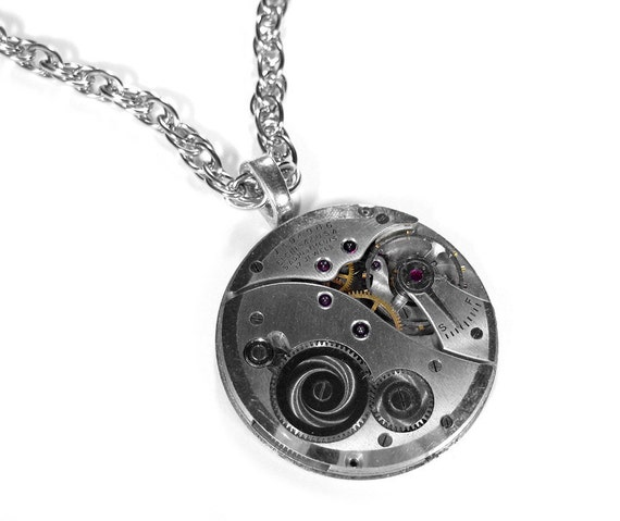 Steampunk Jewelry Necklace Vintage Pocket Watch Elgin Silver Weddings Anniversary Mother's Day STUNNING - Steampunk Jewelry by edmdesigns