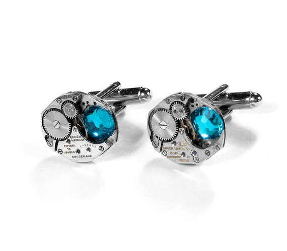 Steampunk Mens Cufflinks GRUEN Jeweled Mens Cuff Links TURQUOISE Crystal Mens Steam Punk Wedding Fathers Day Groom - Steampunk by edmdesigns