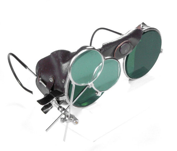 Steampunk Goggles ANTIQUE Steampunk Glasses Dark GREEN Tint Brown Leather Side Shields Magnifier Loupes MINT Condition - by edmdesigns
