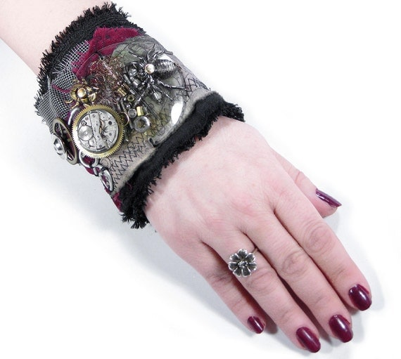 Steampunk Cuff Wrist Cuff GOTHiC Black LEATHER Red Velvet Spider Beetles Huge Coils Crystal Watch Gears - Steampunk Clothing by edmdesigns