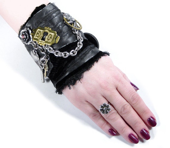 Steampunk Cuff Womens Cuff Black LEATHER Transfers Chain Keys Skull Rose Heart Gears Victorian Rocker Cuff Steampunk Clothing by edmdesigns