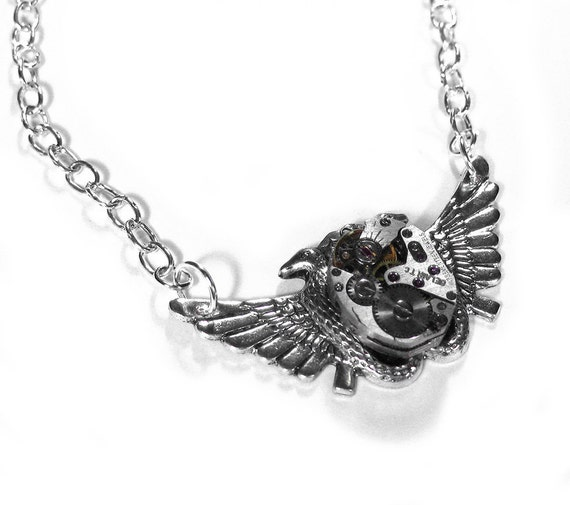 Steampunk Jewelry Necklace Vintage Ruby Watch Silver 2 Headed WING SNAKE Anniversary Wedding Mother's Day - Steampunk Jewelry by edmdesigns