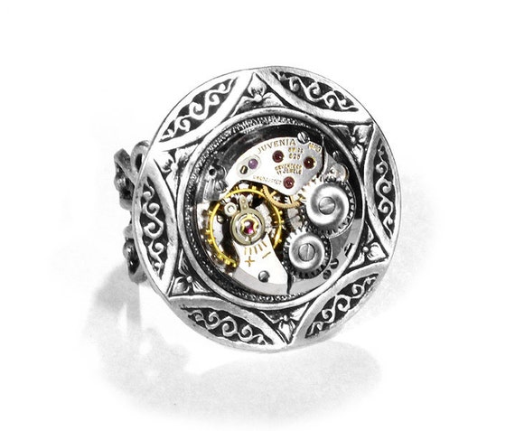 Steampunk Jewelry Mens Ring Vintage Petite Round Watch Silver CELTIC Design Steam Punk Ring, Mothers Day, Fathers Day Gift - by edmdesigns by edmdesigns steampunk buy now online