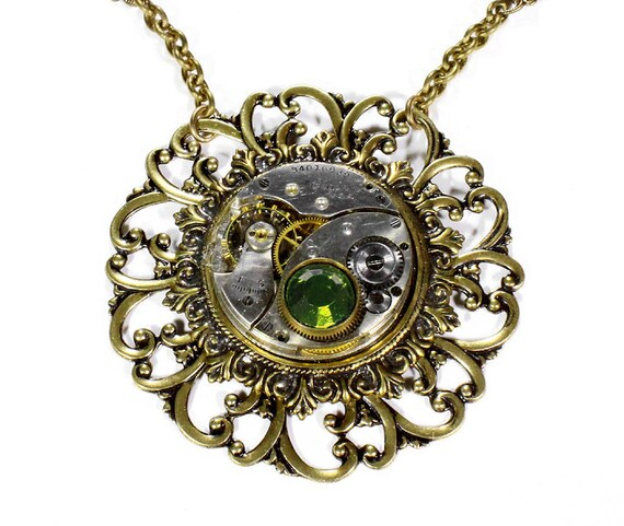Steampunk Jewelry Necklace Vintage ELGIN Pocket Watch Gold Steam Punk Peridot Crystal Womens Mom Mothers Day Gift - Steampunk by edmdesigns