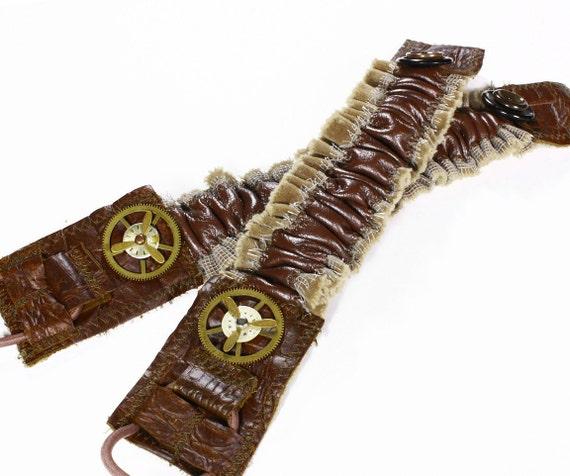 Steampunk Garters - Sleeve Garter Brown Leather Mesh Brass Clock Gears Spinning Parts Wedding Garter - Steampunk Clothing by edmdesigns