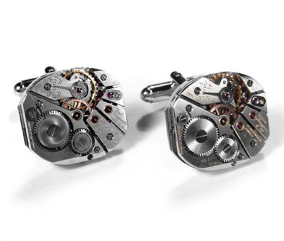 Mens Watch Cufflinks PAUL BREGUETTE Mens Cuff Links Wedding Groom Best Man Anniversary Groomsmen Cufflinks - Steampunk Jewelry by edmdesigns