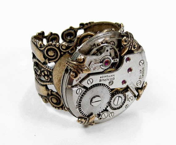GORGEOUS Steampunk Vintage Jeweled LARGE Watch Movement Adjustable MENS Filigree RING