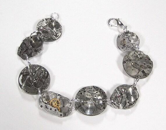 Steampunk Watch Parts Antique Silver Watch Bracelet - FABULOUS SKELETAL LOOK