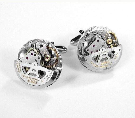 Mens Watch Cufflinks RARE Bulova SWIVEL Ruby Jewel Cufflinks Wedding Groom Anniversary Groomsmen Cufflinks - Steampunk Jewelry by edmdesigns