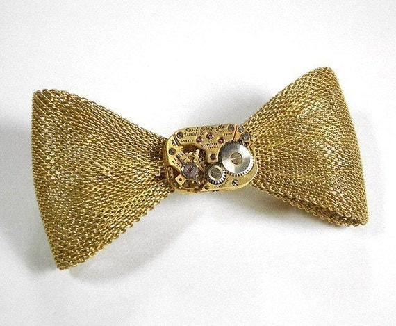 Womens Gold Bow Tie Pin, Steampunk Jewelry Brooch Pin GOLD Paul BREGUETTE Watch Mesh Bow Tie Bowtie Wedding Bridal - Jewelry by edmdesigns