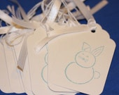 SALE--Spring Blue Bunny Tags- set of 8