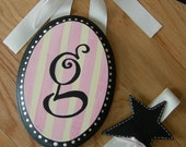 Custom Painted Boutique  Monogram Hair Bow And Clip Holder -Choose Colors