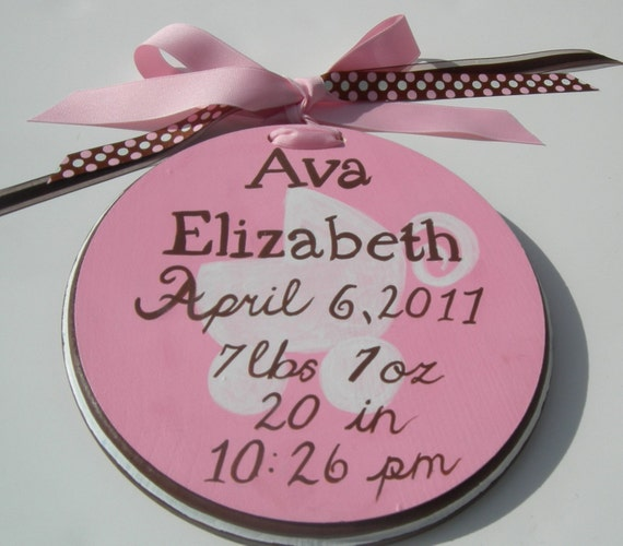 Painted Birth Announcement Wall Hanging Custom Color Choice