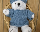 SALE-Handknit Teddy Bear Sweater with Double Cable and Hat