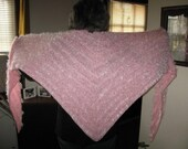 Hand Knit Triangle Shawl in Pink