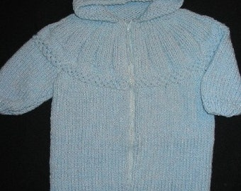 Hand Knitted Blue Baby Bunting