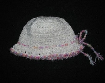 White Brim Hat with Pastel Shaded Trim for Child