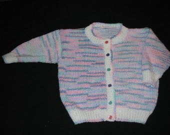Handknit Multicolor Cardigan with White Trim for Girls