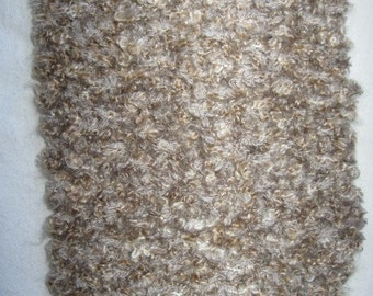 Tan and Gray Handknitted Scarf