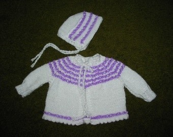 White and Lavender Sweater and Hat for Baby