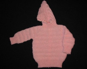 Handknit Pink Baby Hooded Zipperback Sweater for Child