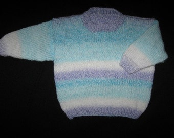 Baby Sweater in Turquoise, White and Blue