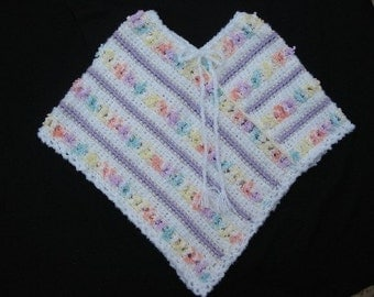 White and Lavender Crochet Poncho with  Multicolor Design for Child