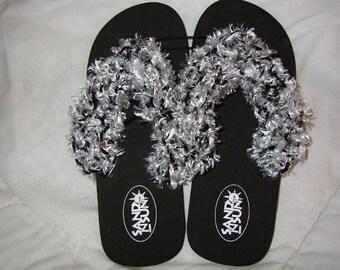 Black and White Handknitted Trim Flip Flops