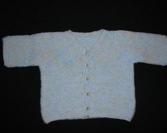 Hand Knitted Blue Varigated Baby Cardigan
