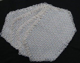 Hand Crafted Table Placemats in Cream and Blue Yarn-Set of Four