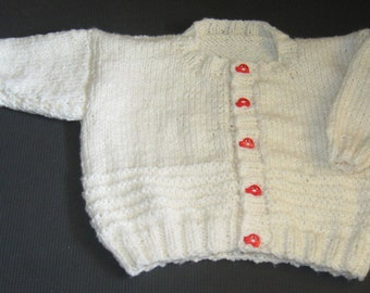 Handknit Cardigan in Cream with Red Car Buttons for child