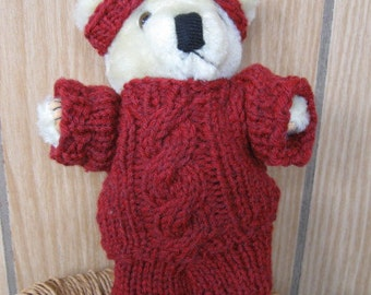 SALE-Handknit Teddy Bear Suit with Cable Design and Hat