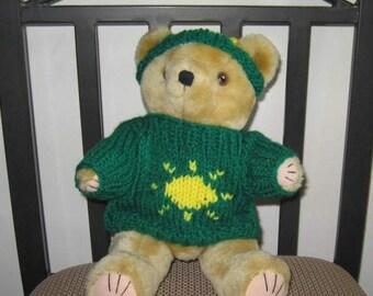 Handknit Sunshine Teddy Bear Sweater and Hat in Green