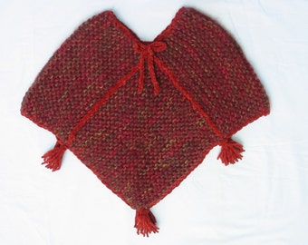 Hand Knit Suede Yarn Trim Poncho for Child