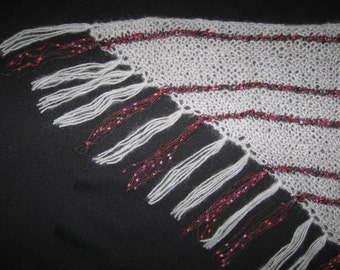 Gray Knitted Triangle Shawl with Shaded Red and Black Ladder Yarn Stripes