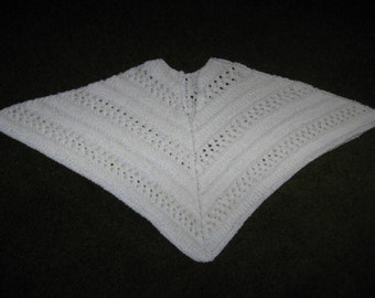 SALE-White Knitted Poncho for Child