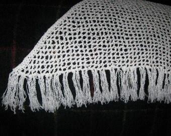 White Crocheted Triangle Shawl